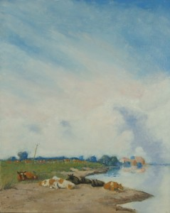 cows at IJssel Study Jan Voerman oilpainting dirk van der stouw
