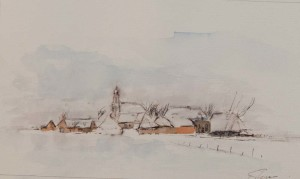 Winterlandscape drawing dirk van der stouw