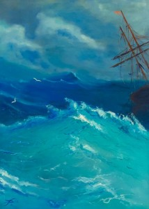 Ship in storm Avanowsky oilpainting dirk van der Stouw