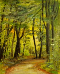 Sunshine wood oilpainting dirk van der stouw