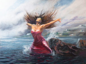 Dancing woman in the water