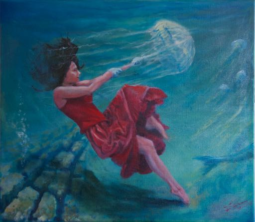 Underwater woman with parasol