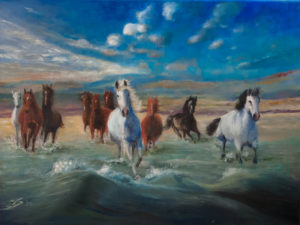 Painting Horses in seascape (2020) Oilpainting on cotton, 50 x 50 x 4 cm For sale