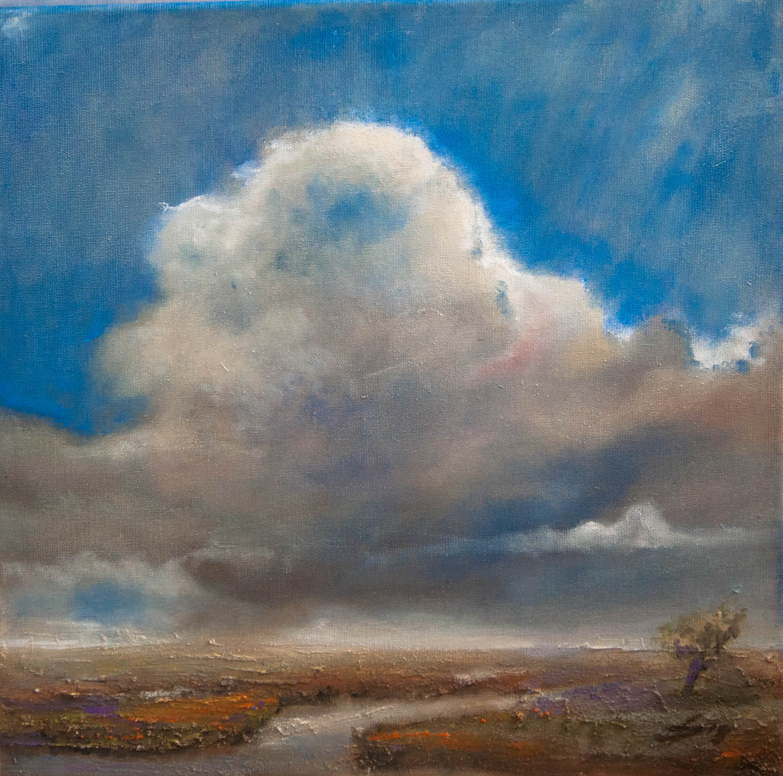 Skyscape VII (2020) Oilpainting on cotton, 50 x 50 x 4 cm For sale