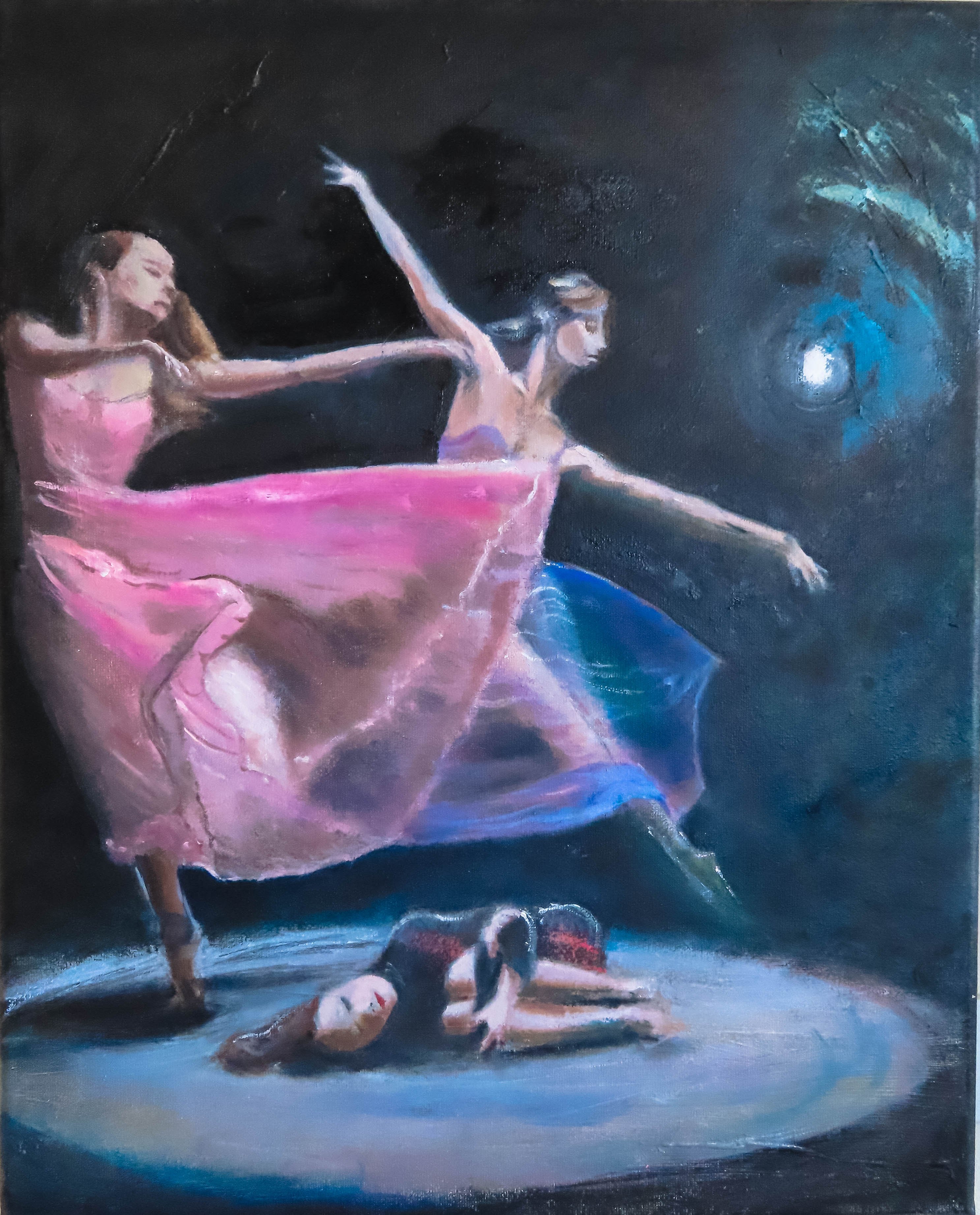 Painting Dansscape at night (2020) Oilpainting on cotton, 40 x 60 x 2 cm For sale