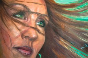 Green eyes (2020)) Oilpainting on cotton, 80 x 120 x 4cm